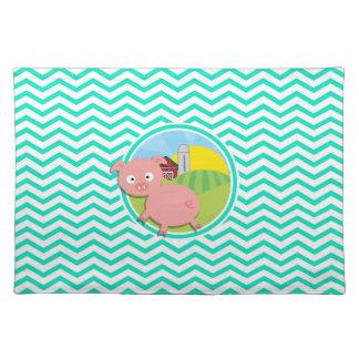 Pig Aqua Green Chevron Place Mat