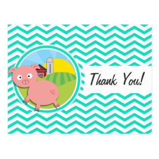 Pig; Aqua Green Chevron Postcard