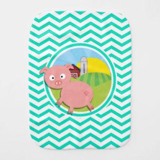 Pig Aqua Green Chevron Baby Burp Cloth