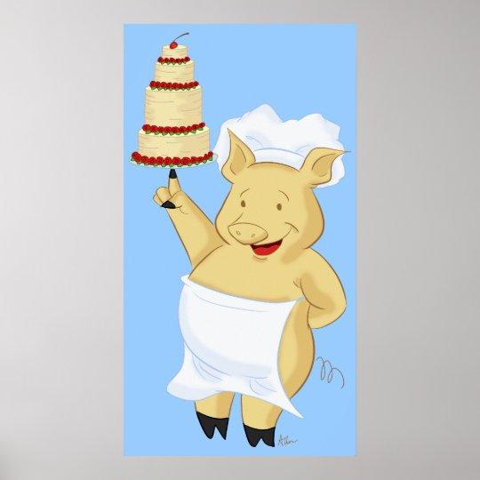 Pig Baker Holding Cake Poster Print