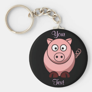 Pig Basic Round Button Key Ring