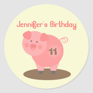 Pig Birthday Party Sticker