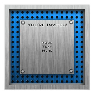 Pig; Brushed metal look 13 Cm X 13 Cm Square Invitation Card