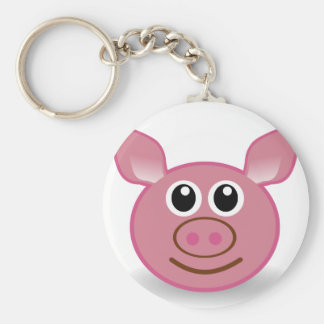 Pig Cartoon Face Basic Round Button Key Ring