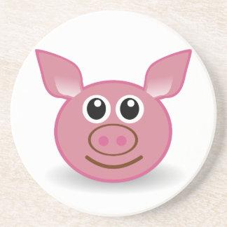 Pig Cartoon Face Beverage Coasters