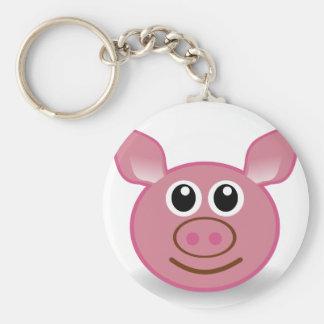 Pig Cartoon Face Key Ring