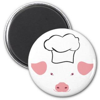 Pig Chef 6 Cm Round Magnet