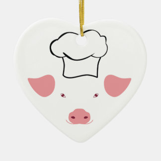 Pig Chef Ceramic Heart Decoration