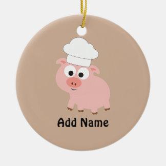 Pig Chef Round Ceramic Decoration