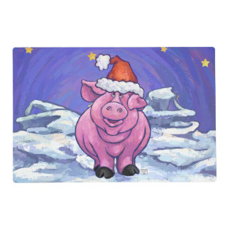 Pig Christmas Laminated Placemat