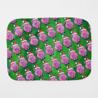 Pig Christmas On Green Baby Burp Cloth