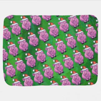 Pig Christmas On Green Pramblanket
