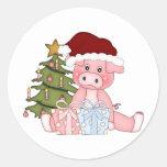 Pig & Christmas Tree Classic Round Sticker