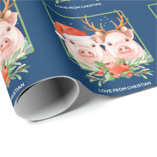 Pig Couple Christmas Santa and Reindeer Wrapping Paper