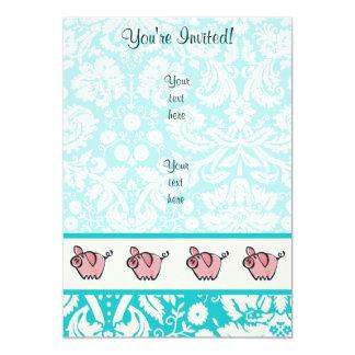 """Pig; Cute 5"""" X 7"""" Invitation Card"""