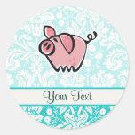 Pig; Cute Round Stickers