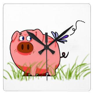 Pig Dragonfly Clock