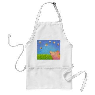Pig dreams of cupcakes adorable crayon art standard apron