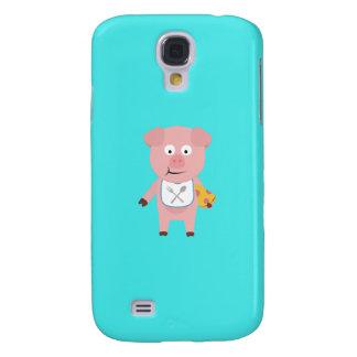 Pig eating Pizza Q1Q Galaxy S4 Case