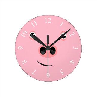 Pig Face Round Clock
