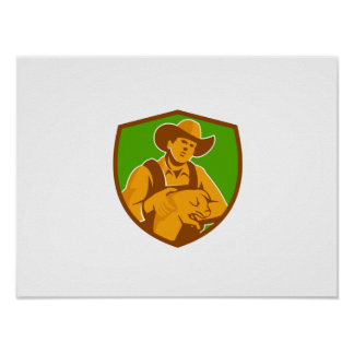 Pig Farmer Holding Piglet Front Shield Retro Poster