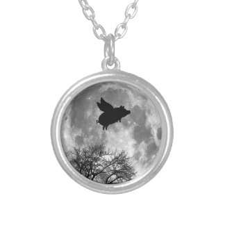 pig flying across the full moon necklace