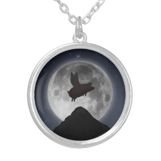 Pig flying across the full moon silver plated necklace