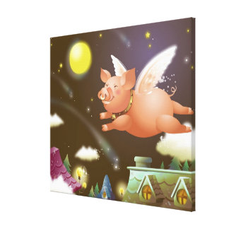Pig flying in the sky canvas print