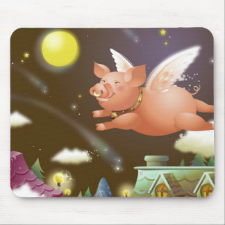 Pig flying in the sky mouse mat