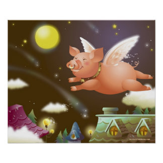 Pig flying in the sky poster