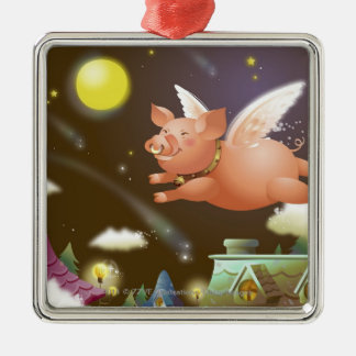 Pig flying in the sky Silver-Colored square decoration