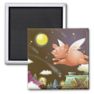 Pig flying in the sky square magnet