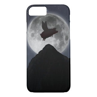 Pig flying past full moon iPhone 8/7 case