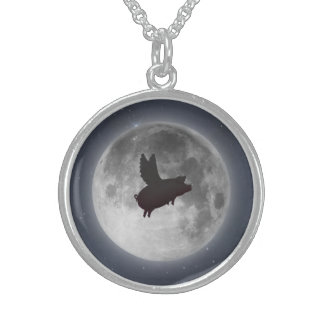 Pig flying past full moon necklace