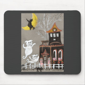 Pig Ghosts Haunted House Mouse Mat