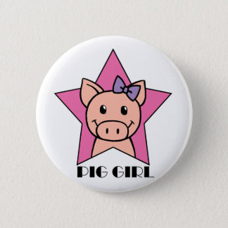 Pig Girl 6 Cm Round Badge