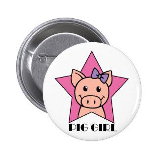 Pig Girl 6 Cm Round Badge