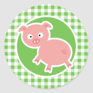 Pig; Green Gingham Classic Round Sticker