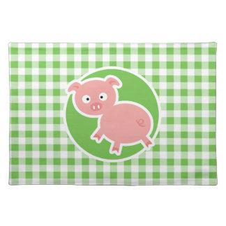 Pig; Green Gingham Place Mat