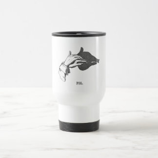 PIG Hand Shadow Art from an Antique Book Stainless Steel Travel Mug
