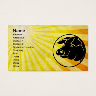 Pig Head; Yellow Business Card