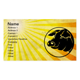 Pig Head; Yellow Pack Of Standard Business Cards