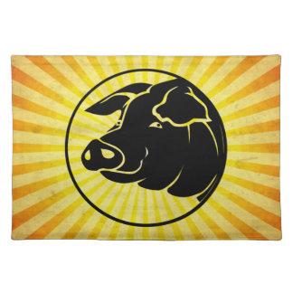 Pig Head Yellow Place Mats