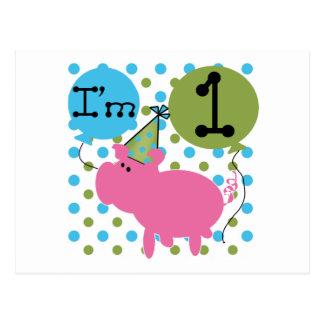 Pig I'm 1 Birthday Tshirts and Gifts Postcard