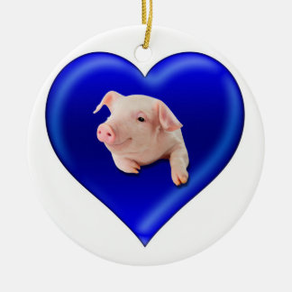 Pig in a Heart Christmas Ornament