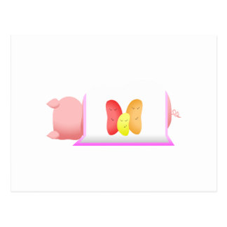 Pig In A Pink Blanket And Beans Post Cards