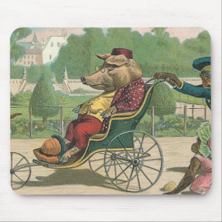 """""""Pig in a Wheelchair"""" Vintage Mouse Mat"""
