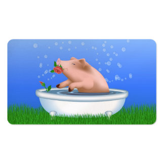 Pig in Bathtub Business Cards