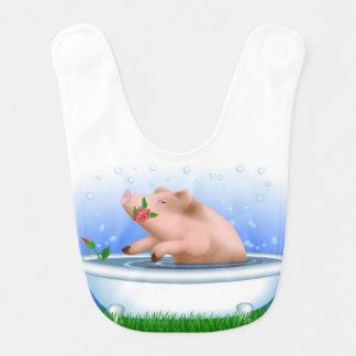 Pig in Bathtub Baby Bibs