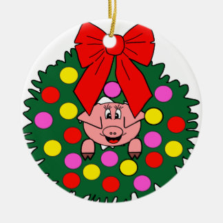 Pig in Christmas wreath Christmas Ornament